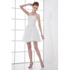 Designer Custom A-Line Strapless Short Beach Wedding Dresses for Summer