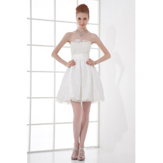 Custom Casual A-Line Strapless Taffeta Short/ Mini Empire Beach Wedding Dresses