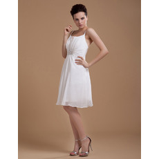 Comfortable Column/ Sheath Chiffon Knee Length Spaghetti Straps Short Beach Wedding Dresses