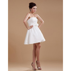 Inexpensive Custom Lace Strapless A-Line Short Beach Wedding Dresses
