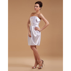 Modern Column/ Sheath Strapless Satin Mini/ Short Beach Wedding Dresses for Summer