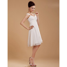 Discount Custom Chiffon Empire Sweetheart/ Straps Short Beach Wedding Dresses