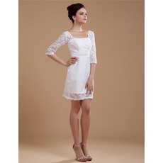 Beautiful Sheath/ Column Square Casual Lace Short Beach Wedding Dresses with Sleeves