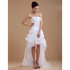 Fashionable Strapless Pick-up High-Low Hem Organza Wedding Dresses with Ruched Bodice