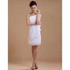 Modern Column/ Sheath One Shoulder Chiffon Short Beach Wedding Dresses for Summer