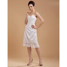 Popular Sweetheart Taffeta A-Line Knee Length/ Short Beach Wedding Dresses for Summer
