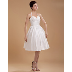 Inexpensive A-line Halter Taffeta Knee Length Short Beach Wedding Dresses for Summer