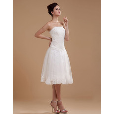 Unique Casual A-Line Strapless Lace Organza Knee Length/ Short Reception Wedding Dresses