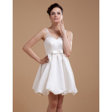 Discount Custom A-Line V-Neck Satin Mini/ Short Reception Wedding Dresses