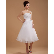 Formal Elegant A-Line Strapless Tea Length/ Short Reception Satin Wedding Dresses