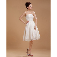 Cute Lace A-Line Strapless Short Reception Wedding Dresses for Summer
