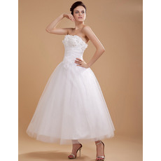 Popular Custom A-line Tea Length Strapless Short Reception Wedding Dresses