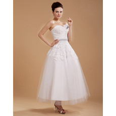 Designer Custom Casual A-line Sweetheart Tea Length Lace Short Reception Wedding Dresses