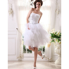 Chic Ball Gown Bubble Skirt Strapless Short Beach Wedding Dresses for Summer
