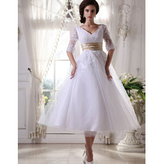 Custom A-Line V-Neck Short Reception Wedding Dresses with Sleeves