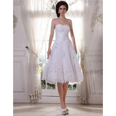 Gorgeous A-Line Sweetheart Short Wedding Dresses with Shimmering Crystal Beading
