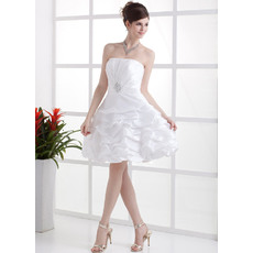 Simple A-Line Strapless Short Taffeta Reception Wedding Dresses for Summer