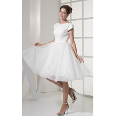 Formal Cap Sleeves A-Line Bateau Short Reception Wedding Dresses for Summer