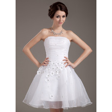Pretty A-Line Strapless Short Reception Wedding Dresses for Summer