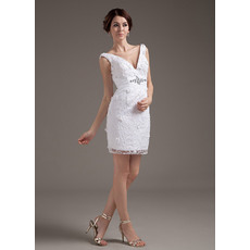 Discount Custom Column/ Sheath V-Neck Short Beach Satin Wedding Dresses