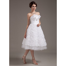 Romantic Floral Lace Tea Length Strapless Reception Wedding Dresses
