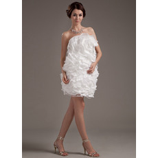 Affordable Custom Ruffle Column Strapless Short Beach Wedding Dresses