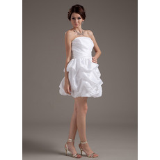 Custom Summer A-Line Strapless Taffeta Short Reception Wedding Dresses