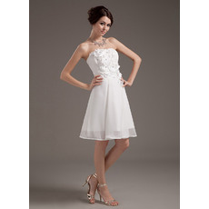 Inexpensive Custom Chiffon Strapless Short Beach Wedding Dresses