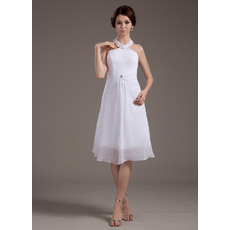 Casual A-Line Halter Chiffon Short Beach Wedding Dresses for Summer
