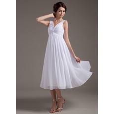 Custom Empire V-Neck Chiffon Tea Length Short Beach Wedding Dresses
