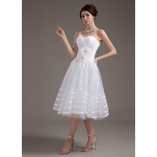 Discount Ruching Knee Length Tulle Wedding Dresses with Handmade Flowers and Soutache
