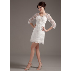 Inexpensive Casual Lace Short Beach Wedding Dresses with Sleeves
