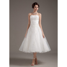 Casual A-Line Strapless Tea Length Organza Short Beach Wedding Dresses