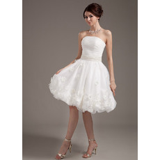 Custom Summer A-Line Strapless Organza Short Reception Wedding Dresses