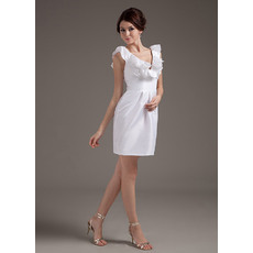 Inexpensive Custom Column V-Neck Taffeta Short Beach Wedding Dresses