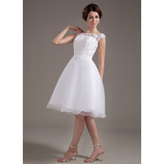 Affordable Casual A-Line Lace Short Reception Wedding Dresses