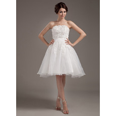 Affordable Strapless Short Reception Wedding Dresses with Lace Jackets