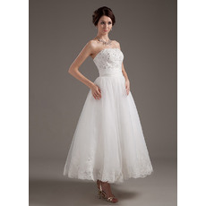 Perfect Beaded Beading Bodice Strapless Tea Length Tulle Wedding Dresses