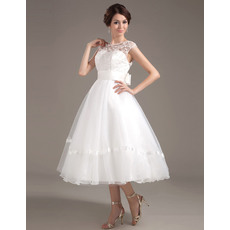 Summer A-Line Organza Tea Length Reception Wedding Dresses