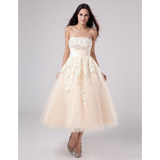 Discount Custom A-Line Strapless Tea Length Reception Wedding Dresses