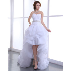 Modern High-Low Organza Wedding Dresses with Beaded Waist and Pic-up Skrit