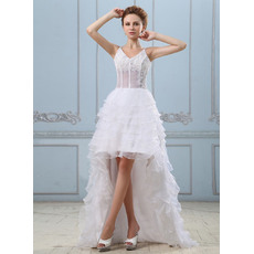 Sexy Appliques Beadings High-Low Organza Wedding Dresses with Illusion Waist