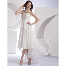 Affordable Custom Empire Strapless Chiffon High-Low Wedding Dresses