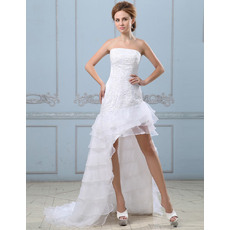 Discount Sexy Strapless Asymmetric Sweep Train Satin Wedding Dresses