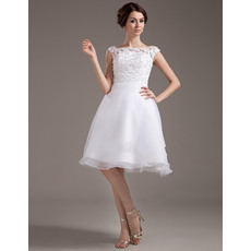 Affordable Custom A-Line Satin Short Reception Wedding Dresses