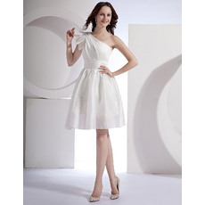 Beautiful Ruffled One Shoulder Taffeta Wedding Dresses with Slight Pleated Detail