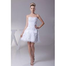 Custom A-Line Sweetheart Satin Short Summer Beach Wedding Dresses