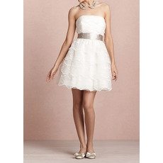 Casual A-Line Strapless Organza Tiered Short Beach Wedding Dresses