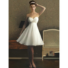 Affordable Sweetheart Empire Short Chiffon Wedding Dresses with Beadings Detail
