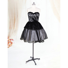 Custom Black Organza Sweetheart Short Beach Wedding Dresses for Summer